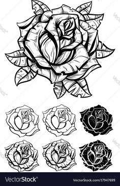 Rose Tattoo Stencil, Tattoo Outline Drawing, Rose Drawing Tattoo, Realistic Rose Tattoo, Flower Tattoo Drawings, Tattoo Design Drawings, Flower Tattoo Designs, Butterfly Tattoos, Watercolor Tattoos