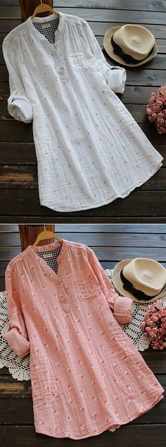[Newchic Online Shopping] Women's Casual Printed Blouses with V-Neck … - moda Kurta Designs Women, Blouse Designs, Casual Dresses, Casual Outfits, Women's Casual, Hijab Fashion, Fashion Dresses, Mode Hijab, Mode Outfits