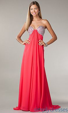 Empire Waist Floor Length Strapless Sweetheart Dress at SimplyDresses.com