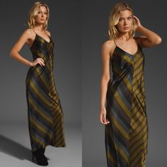 [T by Alexander Wang]green striped silk slip dress This dress is a gem! Slip it on and BAM you are a sexy vixen! Details: racerback, slip styling, different shades of green, grey and blue stripes and 100% silk. Worn once to a wedding. No PayPal + No trades. T by Alexander Wang Dresses