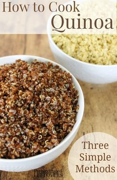Have you wondered how to cook quinoa? It's easy! Here are directions for 3 different methods of cooking quinoa: stove top, slow cooker, and pressure cooker.