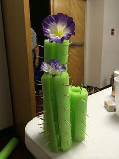 """Pool noodle cactus """"flowering"""""""