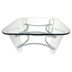 Lucite and Wood Coffee Table
