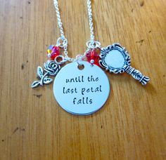 Beauty and the Beast Inspired Necklace. Belle. Until the last petal falls. Enchanted Rose. Swarovski crystals. Beauty and the Beast gift.