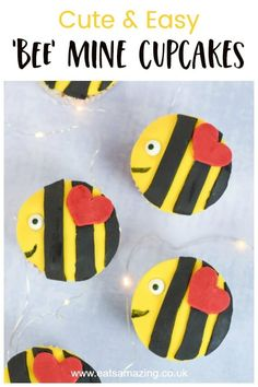 Celebrate Valentines Day with the kids by baking these cute and easy 'bee mine' Valentines bee cupcakes - perfect for kids party food! Valentine Day Cupcakes, Valentines Day Treats, Valentines For Kids, Valentine Day Crafts, Basic Cupcake Recipe, Cupcake Recipes, Food Art For Kids, Valentine's Day Crafts For Kids, Disney Inspired Food
