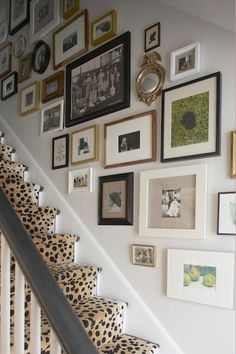 Amazing foyer with black and white staircase dressed in Glenn Eden Carpets Cheetah stair runner as well as eclctic art gallery on staircase wall.