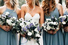 Blue and white wedding colors. Blue bridesmaid dresses. Dusty blue bridesmaid dresses. Summer wedding dress. Anemone flower. Blue and white bridal bouquet. Www.potsnpetalsfloraldesign.com