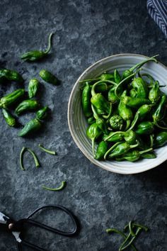 "Tiny padróns are full-flavored peppers that hail from Spain. They aren't sweet the way bell peppers are, and only about 1 in 10 or 20 is spicy, thus earning them the nickname ""pepper roulette."