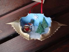 Hand Painted Blue Crab Shell Ornament Snow Scene by AmyBsArt, $9.00