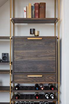 Bar Shelves, Wine Shelves, Shelving Display, Metal Furniture, Cool Furniture, Furniture Design, Brass Shelving, R Cafe, Wine Rack Design