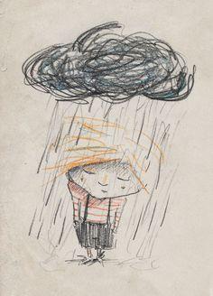 Hoe een ventje uit m'n potlood kruipt — #illustration from http://www.kristofdevos.com