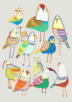 Beautiful birds. Limited edition art print by Ashley Percival. prints and posters.