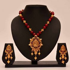 Anvi's lakshmi (temple jewellery) pendent and earrings with big ruby and gold beads - Online Shopping for Necklaces by Anvi Collections