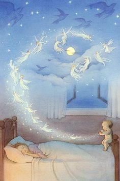 :: Sweet Illustrated Storytime :: Illustration of fairy moon dreams Fantasy Kunst, Fantasy Art, Fairy Art, Belle Photo, Illustrators, Fairy Tales, Artsy, Wallpaper, Drawings