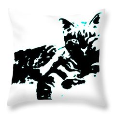 Cool Striped Kitty Turquoise black white teal blue cat fine art decorative pillow throw pillows designer cushions decorator cushion feline by HeatherJoyceMorrill on Etsy