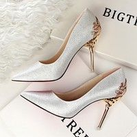 Spring Summer Women High Heels Shoes Pointed Toe Matel Heels Pumps Fashion Sexy Shoes Heeled Carved Metal Office Wedding Shoes - frolyz How should the righ Stilettos, High Heel Pumps, Pumps Heels, Stiletto Heels, Heeled Sandals, Pink Pumps, Suede Pumps, Bridal Shoes, Wedding Shoes