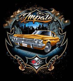 1965 Chevrolet Impala Custom Made T-shirt - Products - Motorrad Chevrolet Impala, Cholo Art, Chicano Art, Chicano Drawings, Estilo Chola, Arte Lowrider, Neue Tattoos, Car Tattoos, Airbrush Art