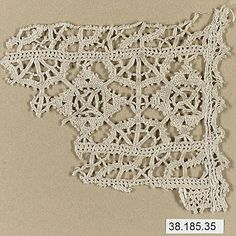 Italian cutwork (?) Piece 3 7/8 x 2 7/8 met museum 38.185.35 looks more like needle lace to me than cutwork