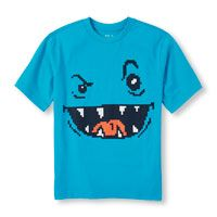 Boys Short Sleeve Scribble Face Graphic Tee 399