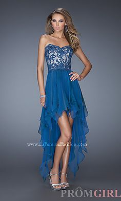 Strapless Sweetheart High Low Prom Dress at PromGirl.com