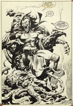 Thor Annual #13 - Mephisto End Splash by John Buscema (Marvel, 1985) Comic Art