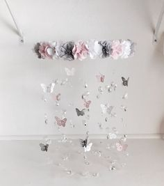 New Mauve Blush Nursery Flower Mobile Crib Mobile Baby Girl Mobile Inspiration Of Diy Baby Mobile Chic Nursery, Girl Nursery, Blush Nursery, Nursery Ideas, Butterfly Baby Room, Baby Mädchen Mobile, Baby Mobiles, Flower Mobile, Butterfly Mobile