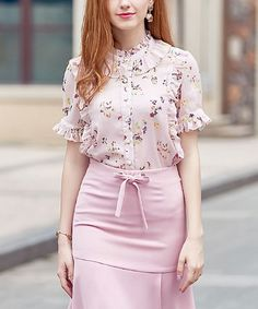 Pink Floral Ruffle Button-Up Top