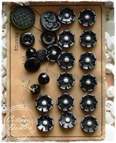 Vintage glass black buttons