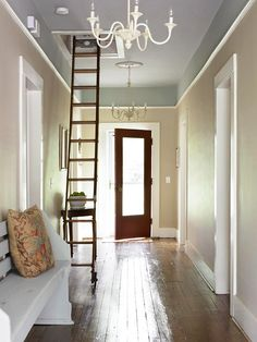 I like the paint. Trim 1 foot down from the ceiling. then 2 paint colors.