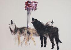 Loups / 2013 / Huile-sur-toile / 60 x 84 pouces Marc Seguin, Canadian Art, Moose Art, Illustration, 2013, Painting, Animals, Photos, Oil On Canvas