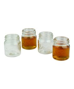 Mason Jar Shot Glass - Set of Four | Daily deals for moms, babies and kids (so cute! Shot glasses that look like Mason jars - cute for a country themed Bachelorette party!)