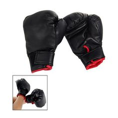 JHO-Black Faux Leather Sponge Pad Boxing Gloves Pair For Child kids Gift Play