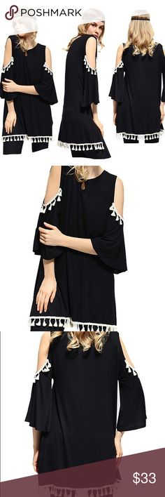 Black cold shoulder Tunic Regular & Plus Sizes Super cute and ready to go! Get this Sassy Bling brand Tunic in Black with white pompoms in sizes M-2X sassy bling Tops Tunics