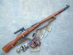 Soviet Mosin–Nagant PU bolt-action sniper rifle with sling 1c635748d