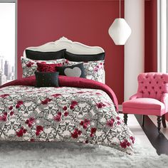 Betsey Johnson Rock Out Comforter Set from Beddingstyle.com. #skulls @xobetseyjohnson #BetseyJohnson #pink #black