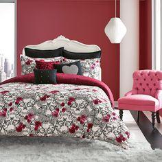Betsey Johnson Rock Out Comforter Set from Beddingstyle.com. #skulls @xobetseyjohnson #BetseyJohnson #pink #black