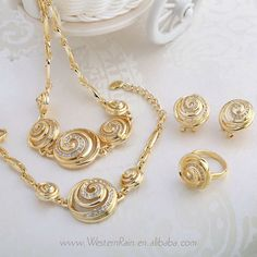 Lovely Design Wholesale Sea Shell Shape Gold Peru Jewelry Bridal Fashion jewelry set For Christmas Gift , Free shipping A046