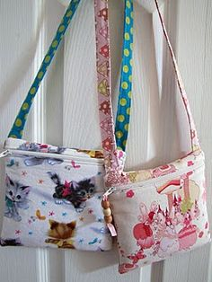 """Cute, quick and easy zippered purse tutorial.  Both my son and daughter love theirs...call them their """"adventure bags!"""" =)"""
