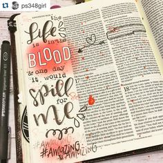 Find Rebecca's designs in our Shop! #linkinprofile #Repost @ps348girl with @repostapp.  Leviticus 17:11 -- the #first5app reminded me that in OT times blood had to be spilled to atone for sins repeatedly. The life was in the blood. And fast-forward thousands of years and more blood was spilled this time once and for all for ME. Who am I that He is mindful of me??! That He would exchange His life for mine. Literally awe-some thoughts. #illustratedfaith #biblejournaling…