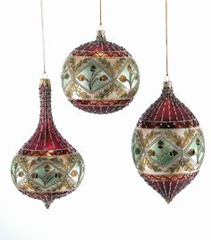 Katherine's Collection Tapestry Christmas Collection Six Assorted 100 mm Acorn Glass Bauble Ornaments Free Ship
