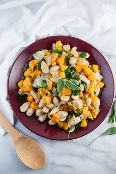 The perfect fall dinner: brown butter gnocchi with roasted butternut squash caramelized onions wilted kale and Parmesan cheese. Vegetable Seasoning, Fall Dinner, Roasted Butternut Squash, Time To Eat, Brown Butter, Gnocchi, Dinner Tonight, Main Meals, Fall Recipes
