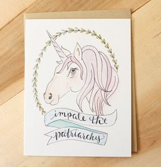 """Impale the Patriarchy! One A2 (size 4"""" x 5.5"""") card, with envelope. Blank inside. Printed with quality inks on heavyweight cardstock. By Sara Pulver of Dear Ollie FREE U.S. SHIPPING OVER $35, NO CODE"""