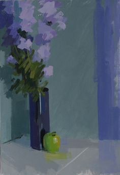 Apple & larkspur.  Oil on canvas 26 x 18 ins.  Philip Richardson