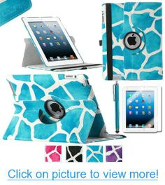 Pandamimi ULAK(TM) 360 Degree Rotating Stand Smart Cover PU Leather Case for Apple iPad 4th Generation Retina Display / the new iPad 3 / iPad 2 (Wake/sleep Function)with Screen Protector and Stylus (Aqua Blue Giraffe)