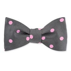 Pink Polka Dot Self Tie Bow Tie by Brent Morgan Prep