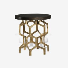 Porta Romana - CST34, Honeycomb Side Table - Decayed Gold with Dark Fumed Oak top