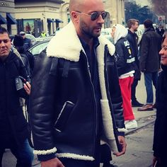 """""""Milan fashion week , day 3 , wearing oversise shearling jacket designed by me for Ports 1961 Mens autumn/winter 2015/16 #love #cool #warm #easy #chic…"""""""
