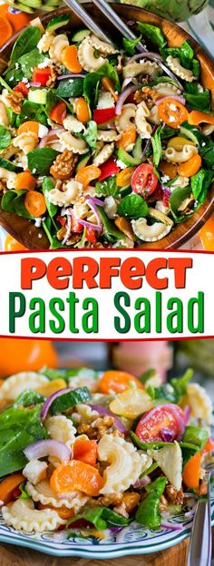 Perfect Pasta Salad is loaded with all of your favorites! A great addition to any meal, this delicious pasta salad is made with artichokes, spinach, mandarins and more! Great for summer BBQs, potlucks and parties! // Mom On Timeout #pasta #salad #recipe #spinach #mandarins #tomatoes #walnuts #cucumbers #recipes #dressing #momontimeout #sponsored #cucumbersaladrecipes
