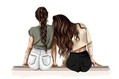 Bff Pictures, Best Friend Pictures, Best Frends, Elf Art, Best Friend Drawings, Lean On Me, Friend Pics, Girl Clipart, Brown Girl