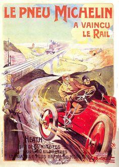 Michelin sur cette affiche de 1905 démontre la capacité de ses pneus à subir les pires outrages, notamment lors des courses automobiles. Ici, la voiture équipée Michelin bat le train le plus rapide du monde.